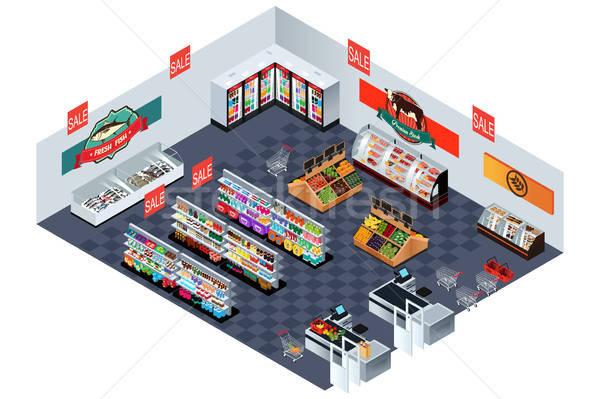 Supermarché épicerie isométrique illustration poissons Shopping Photo stock © artisticco