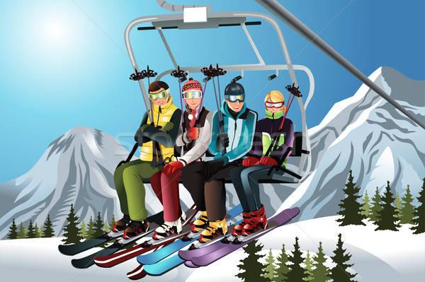 Esquiar elevador grupo sessão mulher homem Foto stock © artisticco