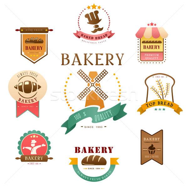 Pékség címke terv felirat szakács bolt Stock fotó © artisticco