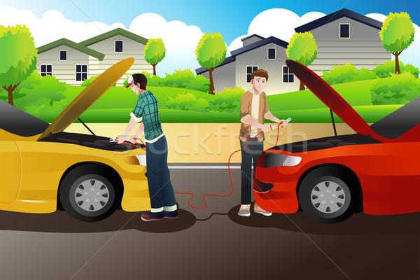 Két személy ugrás kezdet autó autók férfiak Stock fotó © artisticco
