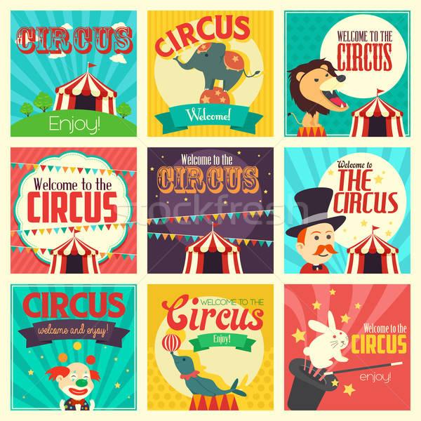 Circo ícones ícone parque elefante palhaço Foto stock © artisticco