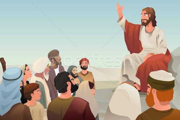 Jézus tanít emberek diákok beszél rajz Stock fotó © artisticco