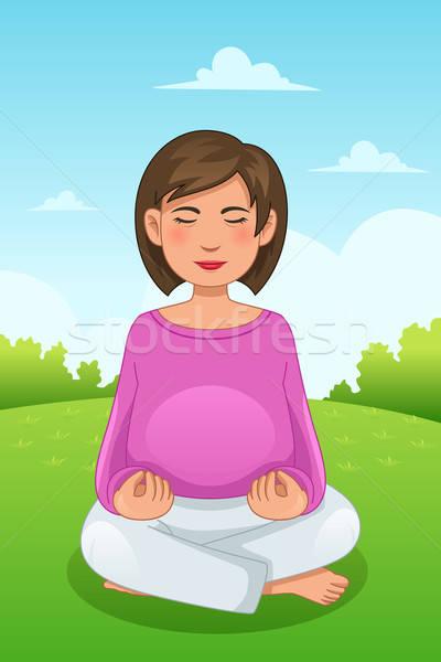 Stock fotó: Terhes · nő · jóga · gyönyörű · testmozgás · fiatal · női