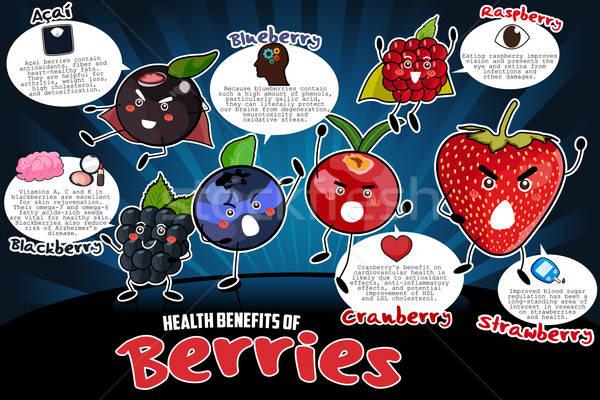 Sağlık faydaları karpuzu çilek karikatür Stok fotoğraf © artisticco