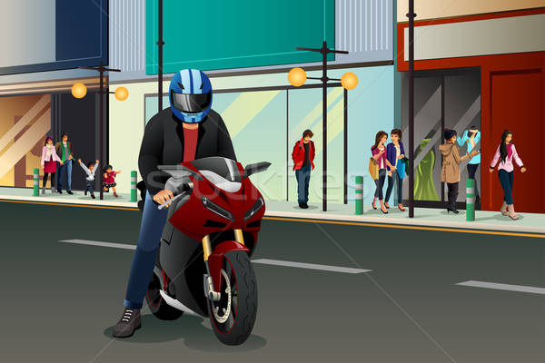 Biker Riding Motorbike Stock photo © artisticco