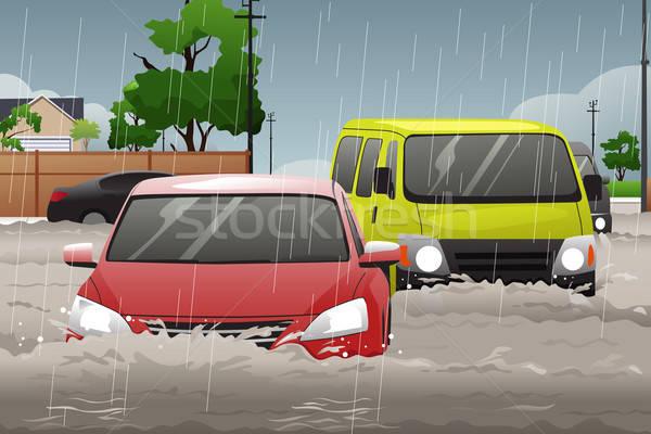 автомобилей дисков наводнения улице дороги дождь Сток-фото © artisticco