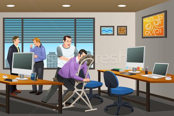 Uomini d'affari massaggio terapia ufficio business professionali Foto d'archivio © artisticco
