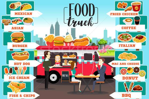 Alimentos camiones infografía pizza pasta tienda Foto stock © artisticco
