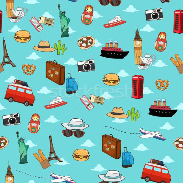 Sem costura férias viajar padrão papel de parede projeto Foto stock © artisticco