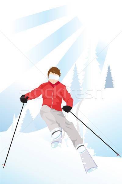 Skiër berg skiën man fitness sneeuw Stockfoto © artisticco