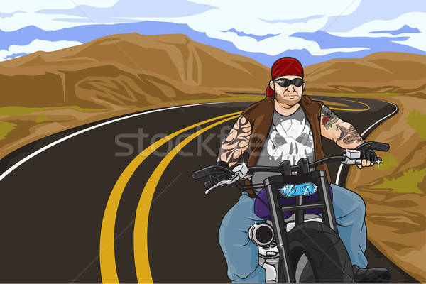 Biker with tattoo Stock photo © artisticco