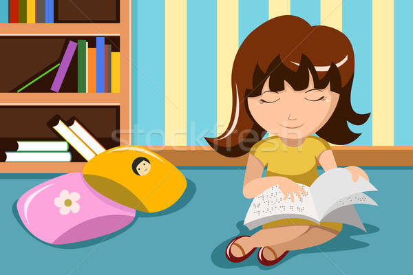 Ciego nino lectura nina libro nino Foto stock © artisticco