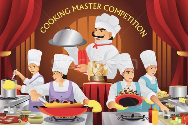 Cozinhar mestre competição chef jovem cozinhar Foto stock © artisticco