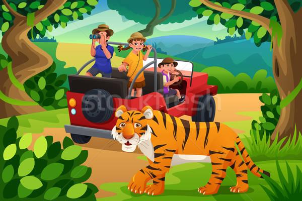 Gyerekek dzsungel szafari boldog együtt lány Stock fotó © artisticco