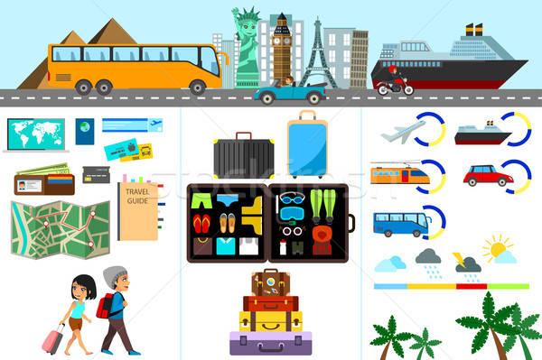 Világutazás infografika nő utazás női rajz Stock fotó © artisticco