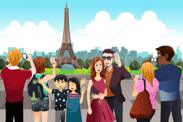 Turistas quadro Torre Eiffel mulher homem Foto stock © artisticco