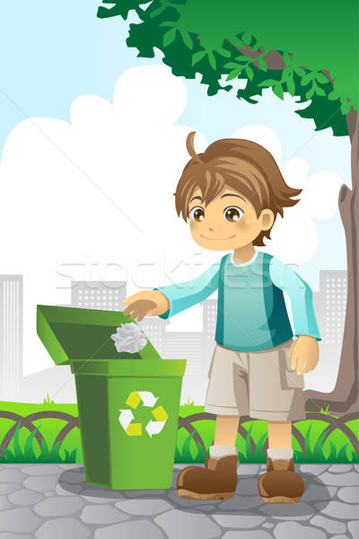 Boy recycling paper Stock photo © artisticco