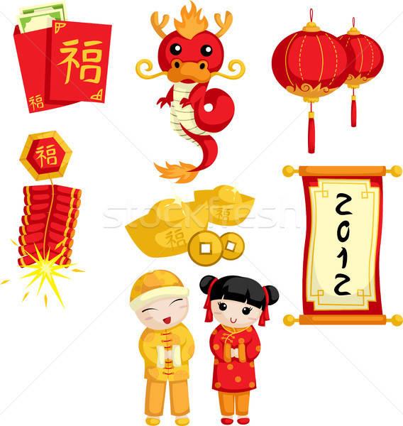 Kínai új év pénz gyerekek fiú arany kínai Stock fotó © artisticco