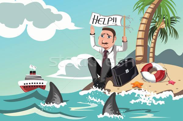 бизнесмен помочь острове профессиональных Cartoon Сток-фото © artisticco