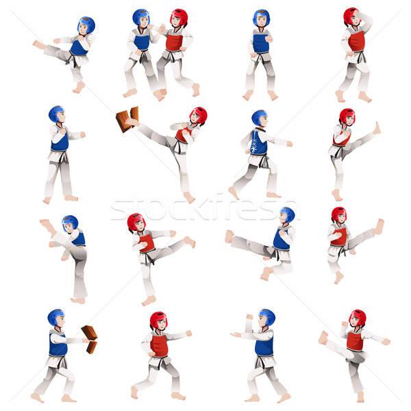 Erkek kız taekwondo farklı pozisyonları çocuklar Stok fotoğraf © artisticco