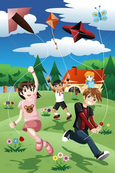 Crianças voador pipa ativo parque sorrir Foto stock © artisticco