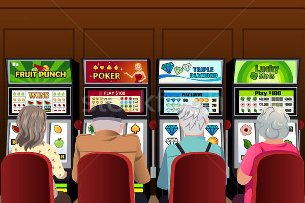 Senior people playing slot machines in the casino Stock photo © artisticco