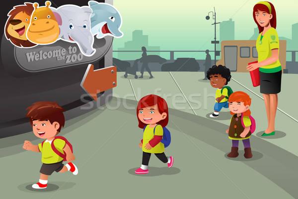 Iskola kirándulás állatkert diákok utazás lányok Stock fotó © artisticco