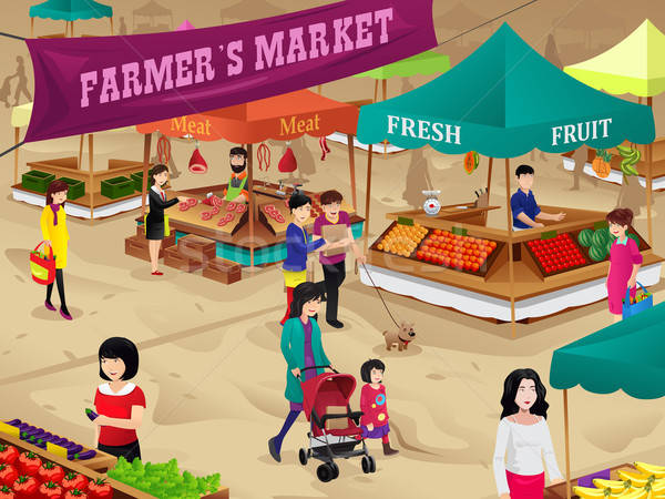 Farmers market scene Stock photo © artisticco