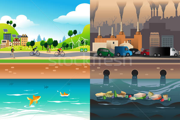 Healthy City Versus Polluted City Stock photo © artisticco