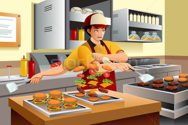 Stockfoto: Man · koken · fastfood · restaurant · keuken · business · voedsel