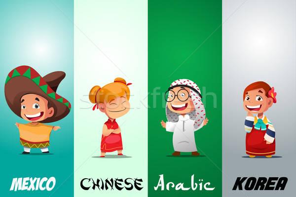 Gyerekek hagyományos öltözék lány gyerekek fiatal fiatalság Stock fotó © artisticco