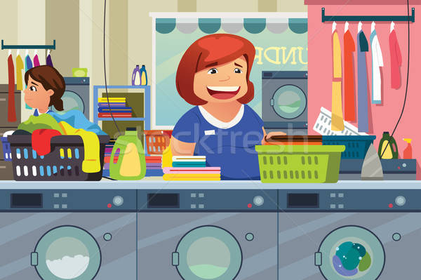 Woman Doing Laundry at Laundry Place Stock photo © artisticco