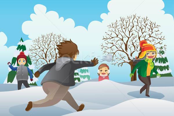 çocuklar oynama kış kızlar çizim karikatür Stok fotoğraf © artisticco