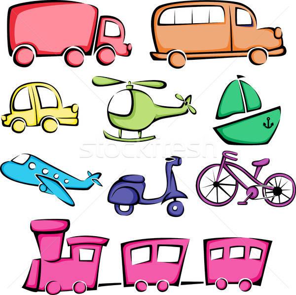 Iconos vector coche camión tren avión Foto stock © artisticco
