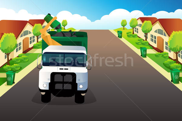 Garbage truck picking up trash  Stock photo © artisticco
