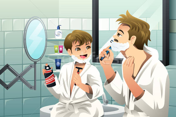 Father and son shaving together Stock photo © artisticco