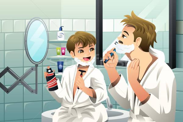 Père en fils ensemble salle de bain famille visage homme Photo stock © artisticco