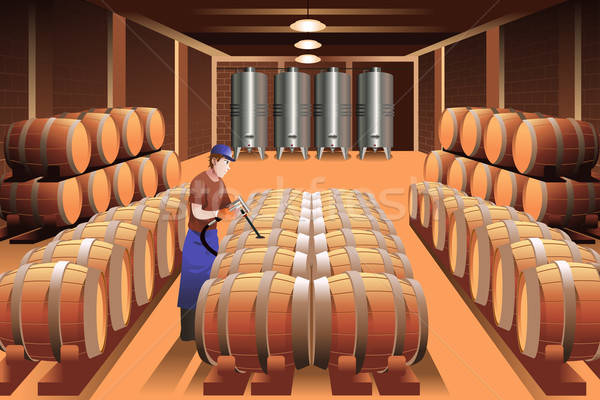 Worker in a winery Stock photo © artisticco