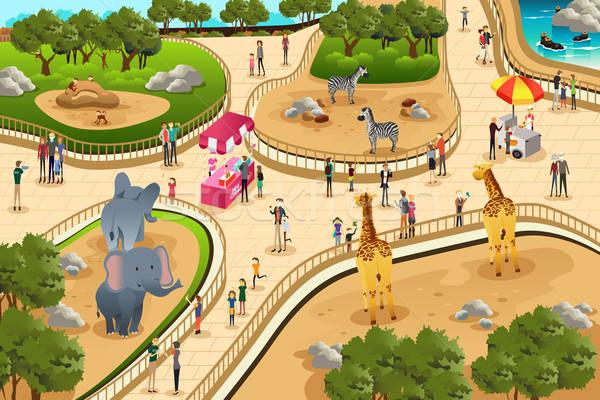 Scena grădină zoologică alimente copii om animale Imagine de stoc © artisticco