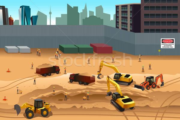 Scène bouwplaats gebouw vrachtwagen werken werknemer Stockfoto © artisticco