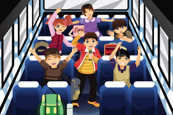 School Children Singing and Dancing Inside the School Bus Stock photo © artisticco