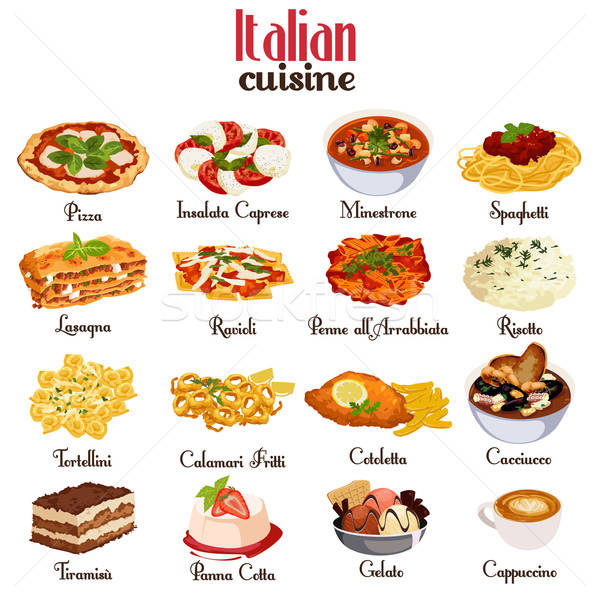 Cucina italiana icone icona spaghetti pasto italiana Foto d'archivio © artisticco