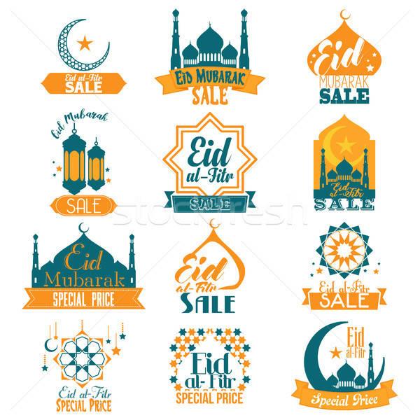 Eid Al-Fitr Eid Mubarak Sale Signs Illustration Stock photo © artisticco