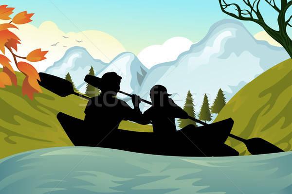Kajakken mensen twee mensen rivier bergen silhouet Stockfoto © artisticco