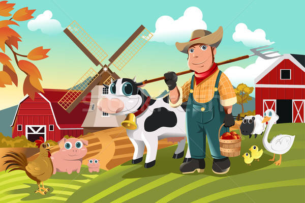 Farmer at the farm with animals Stock photo © artisticco