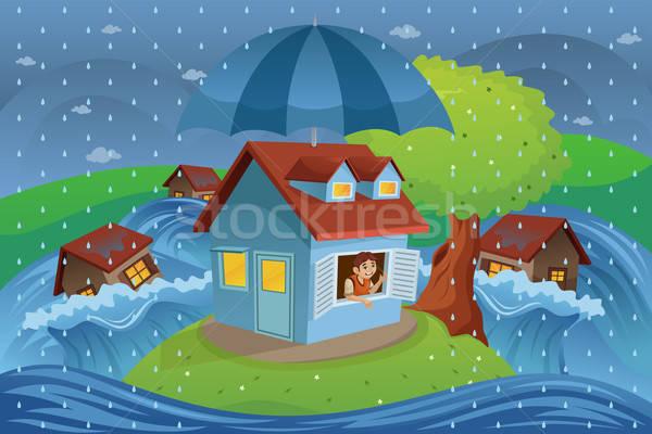 Maison assurance inondations eau bâtiment homme Photo stock © artisticco