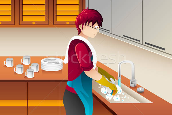 Man washing dishes Stock photo © artisticco