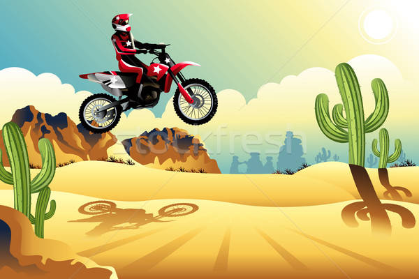 Motor cross rider in the desert Stock photo © artisticco