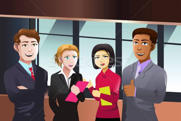 Stockfoto: Zakenlieden · glimlach · gelukkig · mannen · team · baan