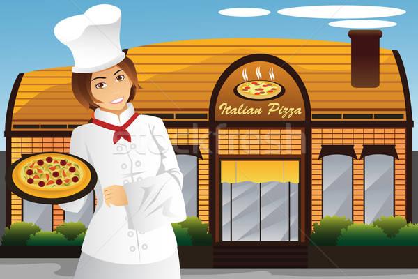 ウエートレス ピザ 立って レストラン ビジネス ストックフォト © artisticco